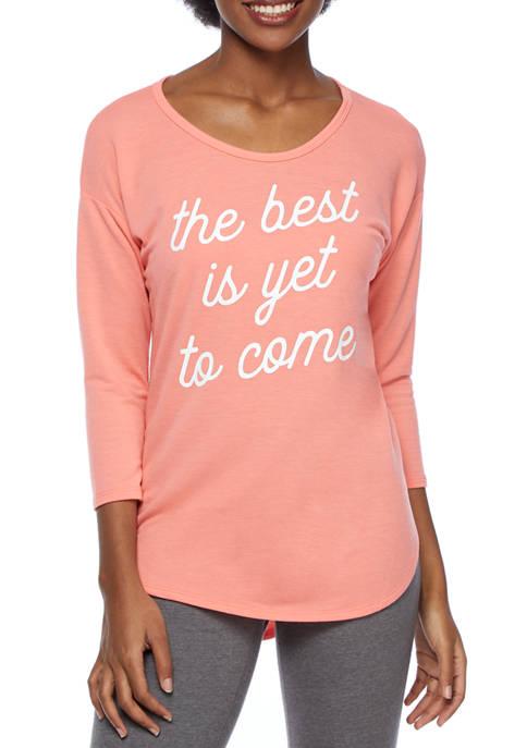 Studio Womens 3/4 Sleeve Graphic T-Shirt