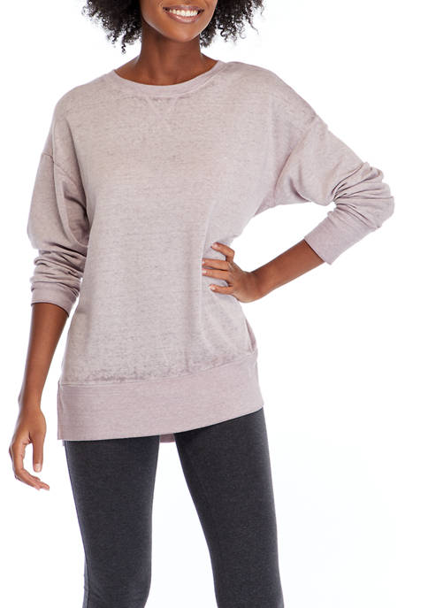 Studio Womens Long Sleeve Washed Tunic Pullover