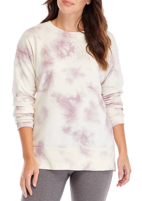 Studio Womens Long Sleeve Slouchy Raglan Tunic Pullover