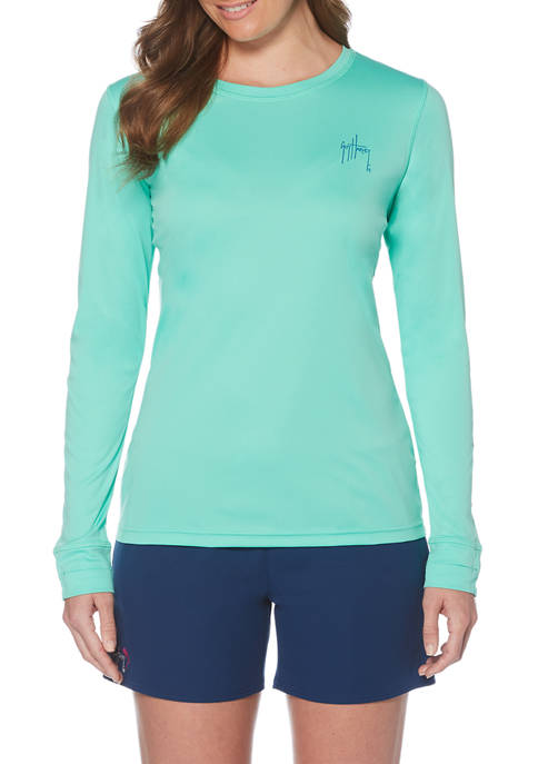 Guy Harvey Womens Solid Long Sleeve Sun Protection
