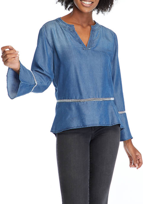 Kim Rogers® Womens Long Sleeve Lyocell® Woven Chambray