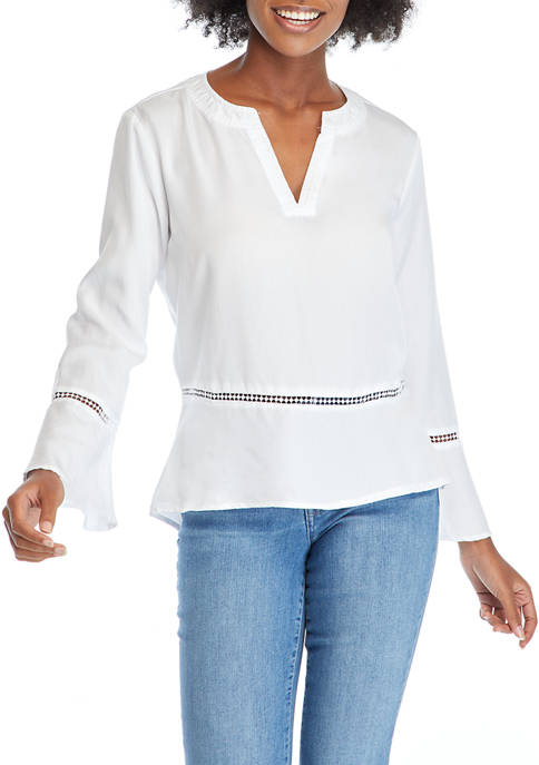 Kim Rogers® Womens Long Sleeve Lyocell® Woven Top