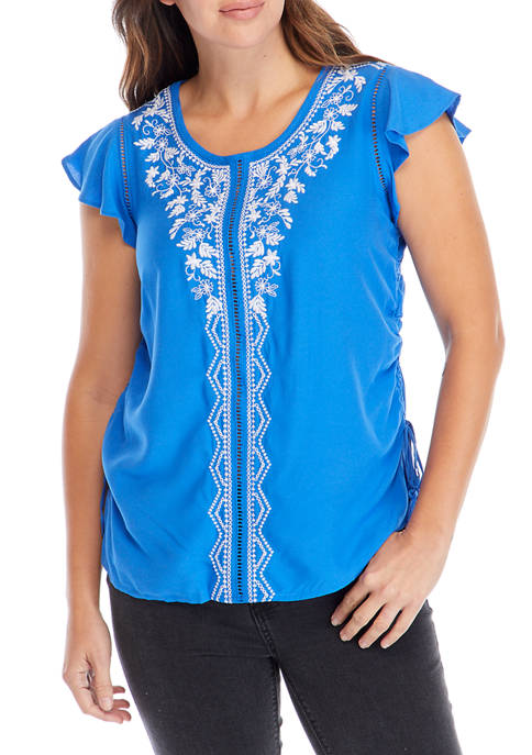 Kim Rogers® Womens Embroidered Front Short Flutter Sleeve