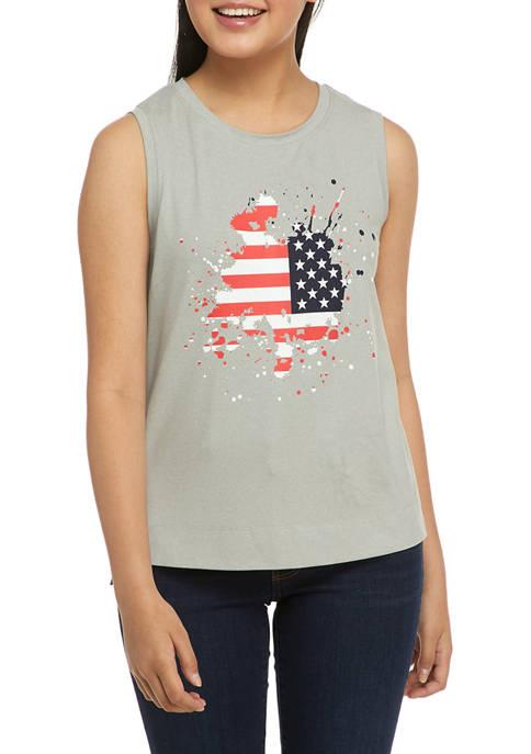 New Directions® Womens Sleeveless Americana Graphic Tank
