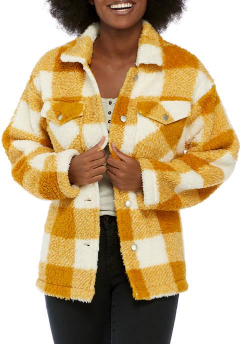 Womens Long Sleeve Sherpa Woven Jacket