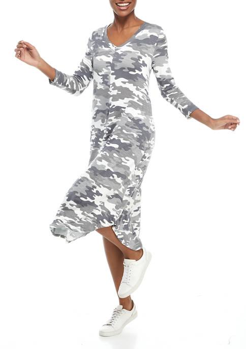 Studio Womens Long Sleeve V-Neck Printed Round Hem Dress