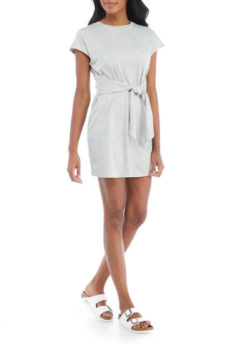 New Directions® Studio Womens Short Sleeve Tie Waist