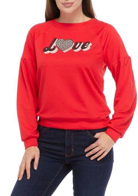 New Directions® Studio Womens Drop Shoulder Graphic Sweatshirt