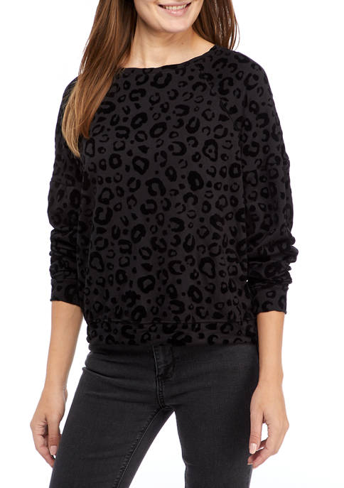 New Directions® Studio Womens Long Sleeve Bubble Terry