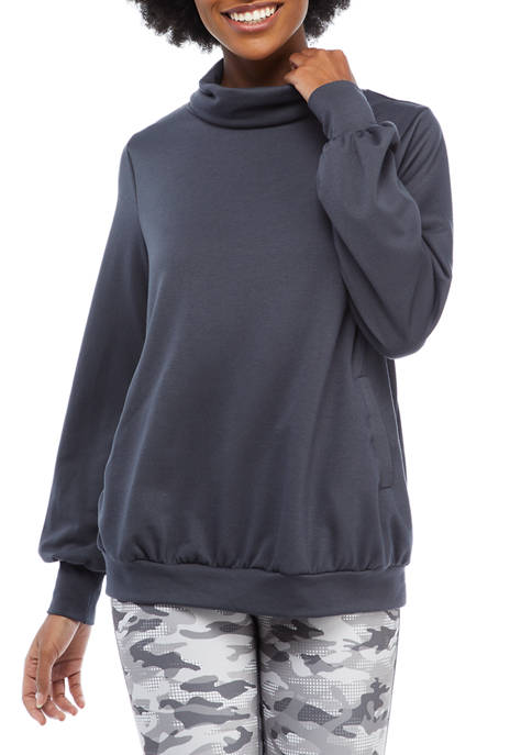 Studio Womens Long Bubble Sleeve Cowl Neck Pullover