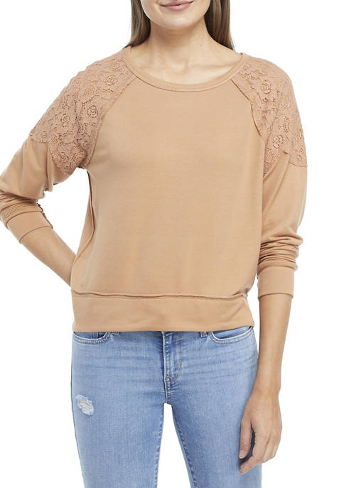 New Directions® Studio Womens Long Sleeve Lace Inset