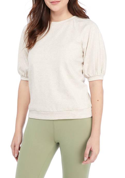 Studio Womens Short Puff Sleeve Sweatshirt