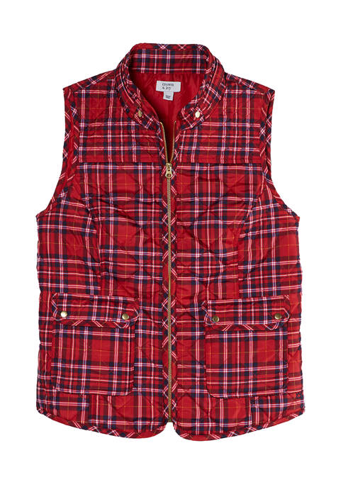 Crown & Ivy™ Womens Printed Sleeveless Puffer Vest
