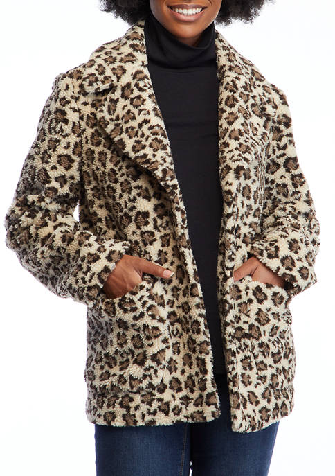 Crown & Ivy™ Womens Long Sleeve Teddy Jacket