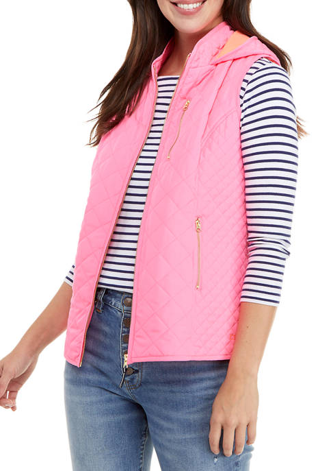 Crown & Ivy™ Womens Hooded Vest with Trim