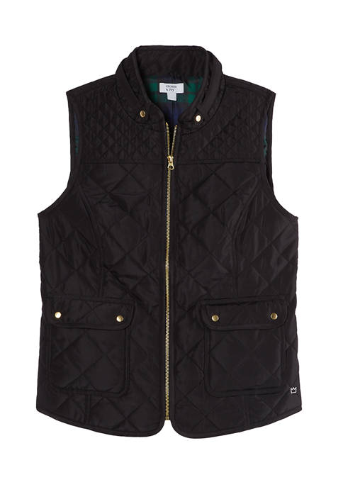 Crown & Ivy™ Petite Solid Sleeveless Puffer Vest