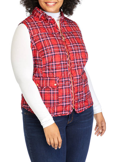 Crown & Ivy™ Plus Size Printed Quilted Puffer