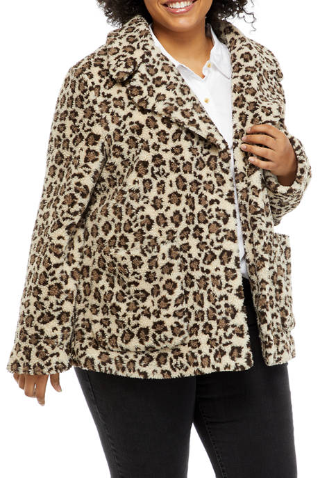 Crown & Ivy™ Plus Size Leopard Print Notch