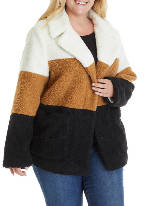 Crown & Ivy™ Plus Size Colorblock Teddy Jacket