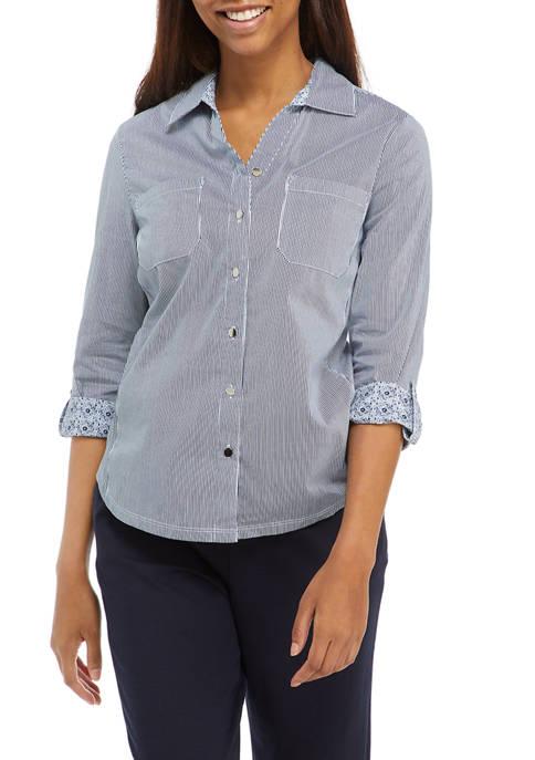 EMILY DANIELS Womens Blue Roll Tab Notch Collar
