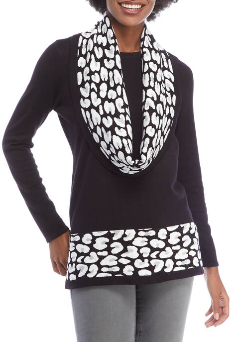 EMILY DANIELS Womens Long Sleeve Sweater with Detachable
