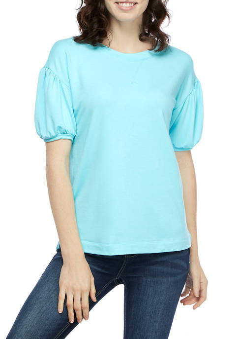 Crown & Ivy™ Short Puff Sleeve Sweatshirt