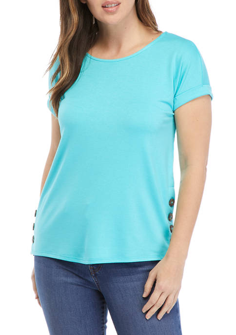 Crown & Ivy™ Womens Short Sleeve Side Button