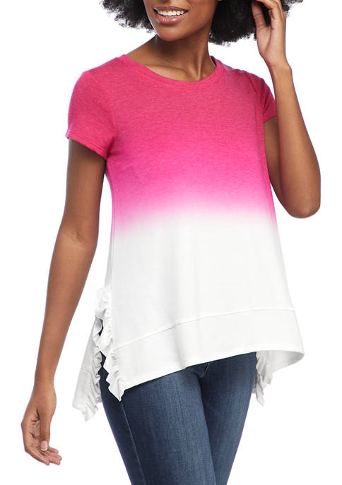 Crown & Ivy™ Womens Dip Dyed Short Sleeve