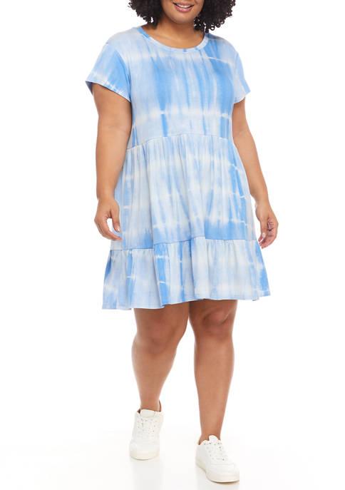 Crown & Ivy™ Plus Size Tiered Tie-Dye Dress