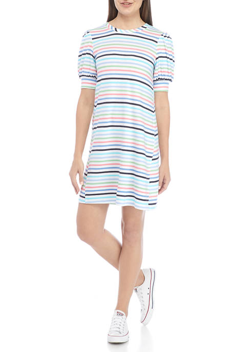 Crown & Ivy™ Womens Short Puff Sleeve Striped