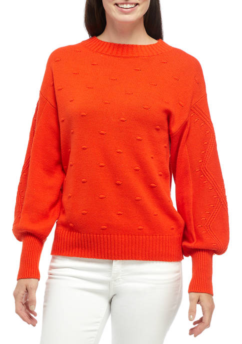 Crown & Ivy™ Womens Long Sleeve Pom Sweater
