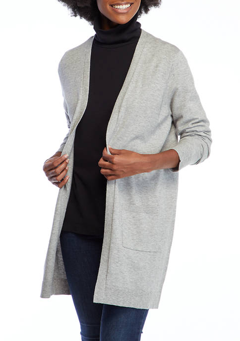 Kim Rogers® Womens Pointelle Long Cardigan