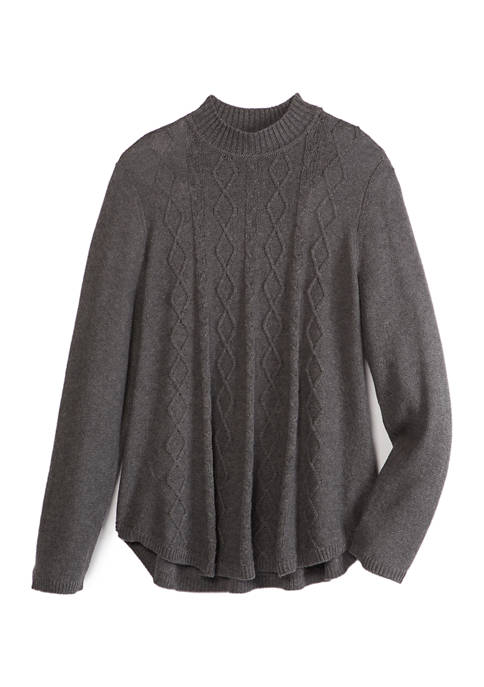 Kim Rogers® Womens Long Sleeve Mock Neck Cable