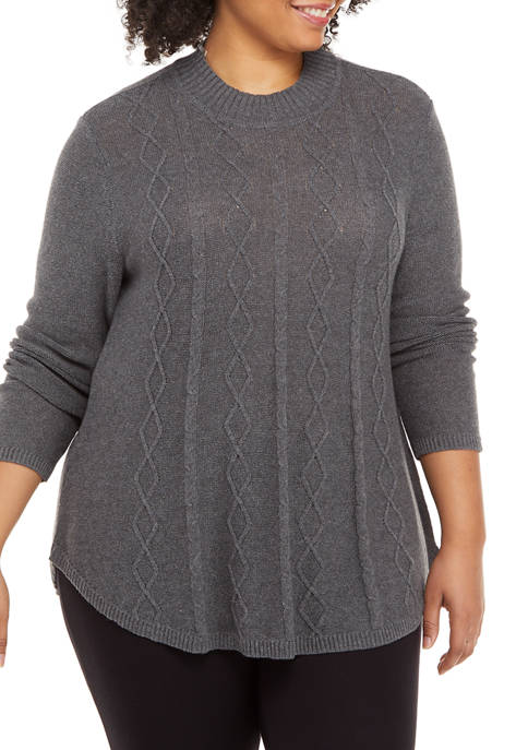 Kim Rogers® Plus Size Long Sleeve Mock Neck