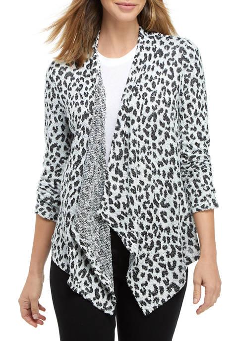Kim Rogers® Womens Long Sleeve Cheetah Cardigan