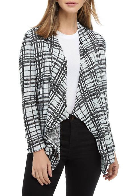Kim Rogers® Womens Long Sleeve Plaid Cardigan