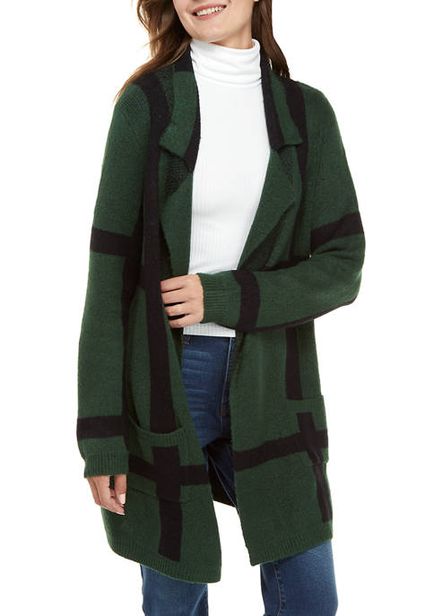 New Directions® Womens Long Sleeve Plaid Cardigan