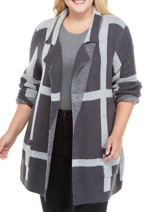 New Directions® Plus Size Long Sleeve Plaid Open