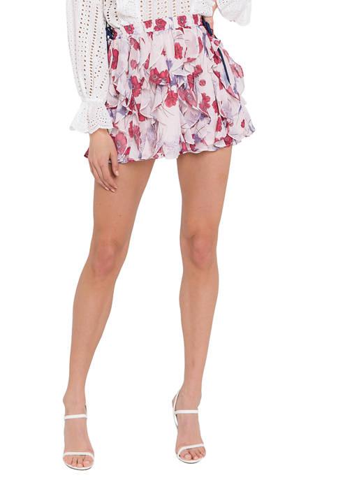 Endless Rose Printed Ruffled Skirt