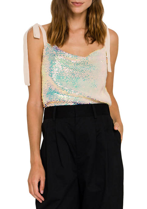 Endless Rose Womens Orora Sequins Ribbon Tied Top