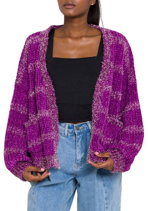 Endless Rose Womens Metallic Striped Knit Cardigan