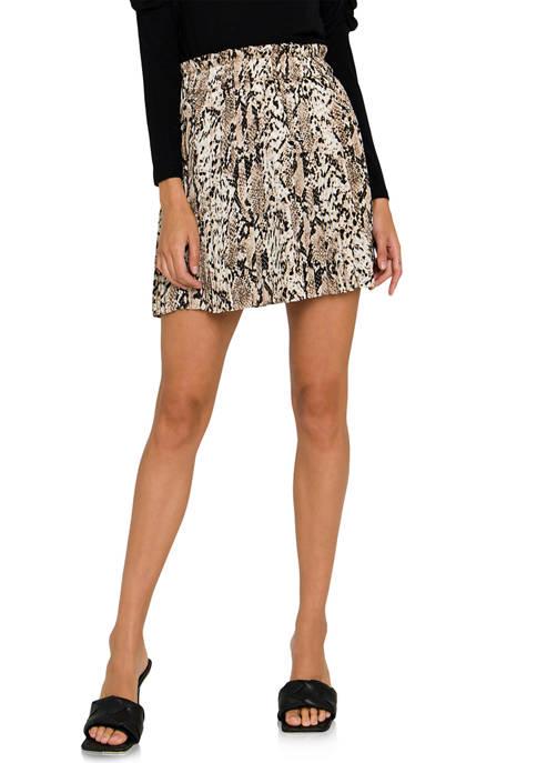 Endless Rose Snake Skin Pleats Mini Skirt