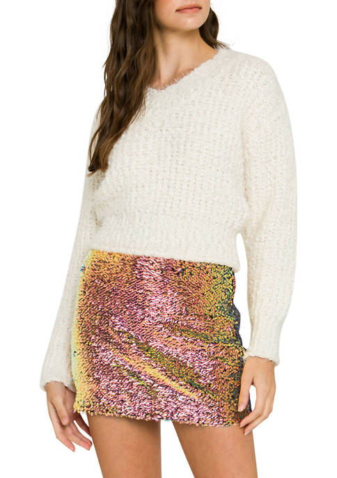 Endless Rose Womens V-Neck Ribbed Sweater