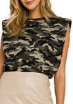 Womens Camouflage Print Shoulder Pad Top