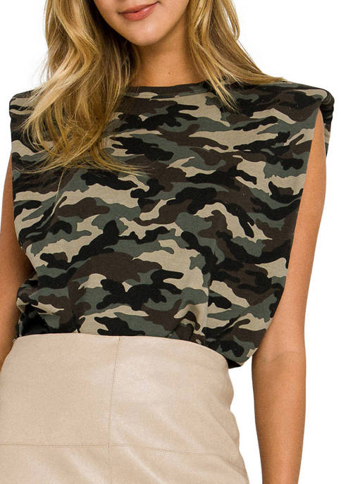 Endless Rose Womens Camouflage Print Shoulder Pad Top