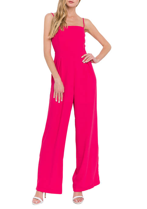 Endless Rose Womens Solid Strap Jumpsuit