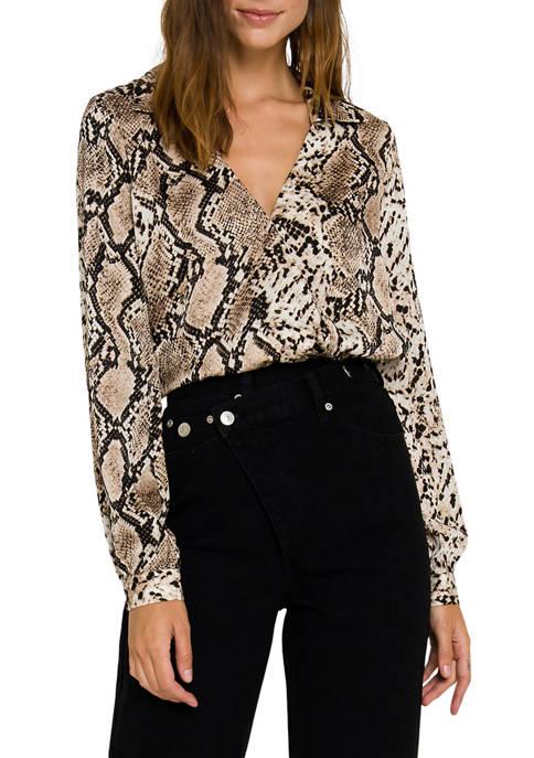Snake Skin Pattern Wrap Shirts