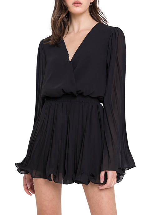 Endless Rose Womens Chiffon Pleated Wrap Romper
