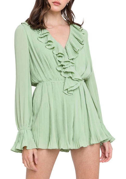 Endless Rose Womens Ruffled V-Neck Romper
