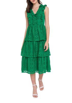 Endless Rose Womens Ruffled Lace Dress